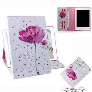 Фиолетовый узор орхидеи горизонтальный флип кожаный чехол для Amazon Kindle Paperwhite 4 / 3 / 2 / 1, с держателем слот для карт бумажник