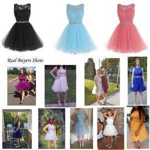 Sweet 16 Prom Dresses apliques de renda curtos com cristal Beads Puffy Tulle Cocktail Party Vestidos Little Black graduação Baile Vestidos