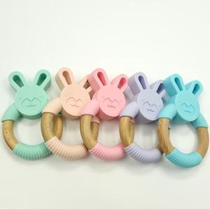 Conejito de silicona Anillo Mordedor madera natural orgánico de madera de haya Mordedor suave del conejo de conejito Chew regalos para bebé Juguetes para bebés