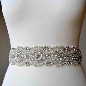 Custom Made Shiny Crystal Peal Beading Wedding Sashes Bride Dress Belt