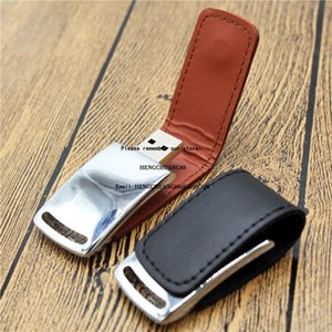 Emboss Logo Leather Goods U Disk 16GB Black Brown Red Colour Leather Shell Usb Flash Drive 1 2 4 8 16 32 64 128GB Pen Drive Press Artwork