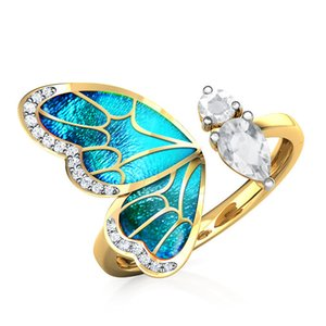 AprilGrass Brand New Trendy Gold Color Butterfly Female Adjustable Opening Rings Wedding Anniversary Birthday Gift Fashion Women Jewelry