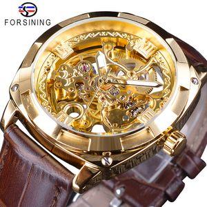 Forsining Königs Golden Flower Transparent Brown Ledergürtel Kreative 2018 Herren-Uhr-Spitzenmarken-Luxus-Skeleton mechanische Uhr