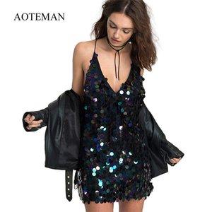 Aoteman Sexy Verão Outono Mulheres Bodycon Mini Vestido de Festa de Moda Vestidos de Lantejoulas Elegante Magro Sólida Clube Vestido Preto Vestidos J190611