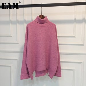 [EAM] Caramel Color Big Size Knitting Sweater Loose Fit Turtleneck Long Sleeve Women Pullovers New Fashion Autumn 2020 1W864