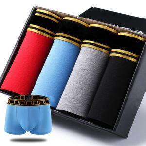 ملابس داخلية العلامة التجارية مصمم الرجال الجودة مثير القطن الرجال 4PCS الكثير الملاكمون تنفس ملابس داخلية رجالي ووصفت الملاكمون شعار داخلية ذكر بوكسر
