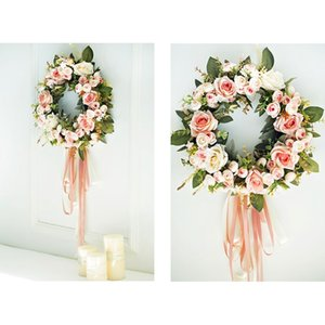 Floral Artificial Rose Wreath Door Hanging Wall Window Decoration Wreath Holiday Festival Wedding Decor 32Cm Other Festive Party Supplies
