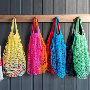Wiederverwendbare Obst Einkaufen Grün Einkaufstasche String Grocery Shopper Tote Baumwolle gewebt net Tasche net Tasche Aufbewahrungstasche Mischfarben