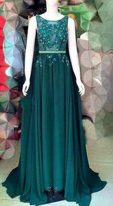 Темно-зеленый стиль накидки Pageant вечерние платья Elie Saab кружева Applique Beads Chiffon Prom Sweew Train Formance
