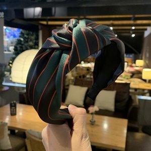 Korean net rotes Haar Zubehör retro rot und grün gestreiften Stirnband Breitrand Hairpin Satin Nähen westlichen Stirnband Kopfbedeckung verknotet