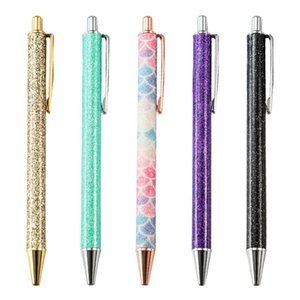 فلاش كريستال القلم قلادة معدنية قلم حبر جاف رصاصة 1.0MM مكتبية للمدارس والمكاتب القلم بالبن الحبر الأسود الزرقاء 12 الألوان