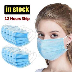 12 horas enviar! Envío libre de DHL 7-15 días desechables mascarillas de 3 capas anti polvo respirable enfrentan los hombres y mujeres máscara de la máscara