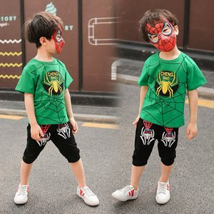 Ins 2020 Summer Cartoon boys suits casual kids suits short sleeve T shirt+Shorts+mask 3pcs set boys outfits boys clothing sets retail B1340