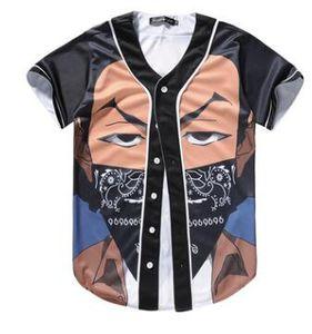 Moda 3D de dibujos animados Camiseta de manga corta Hombres Béisbol Jersey Sport Slim Fit Cuello en V Camisetas Casual Streetwear Estilo de moda Buena calidad
