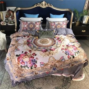 High Quality Europe Royal Big Flowers Pattern New Design 2019 100% Cotton Wedding King Queen Size 4pcs Blue Bedding Sets