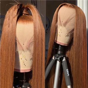 13x4 생강 레이스 정면 가발 인도 스트레이트 레이스 정면 인간의 머리 가발 저렴한 150 % 밀도 투명 레이스가 발 표백 된 매듭