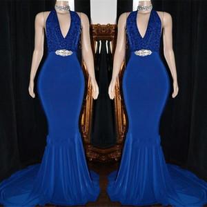 2K19 Kraliyet Mavi Mermaid Balo Abiye Seksi Backless Kristal Kanat Örgün Parti Kıyafeti Artı Boyutu Pageant Elbiseler Özel Made BC2059