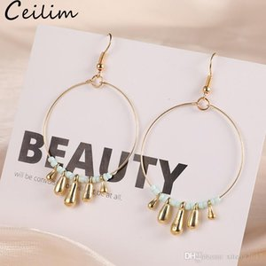 New Bohemia Golden Color Round Circle Hoop Earring With Acrylic Bead Decoration Simple Circle Earrings For Women Girls Handmade Korean Sweet