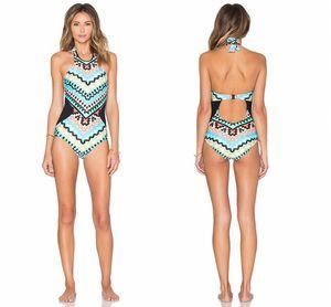 Barato 2019 Monaco Impresso One Piece Beachwear Conjuntos de Biquíni Sem Encosto Halter Pescoço Maillot Biquíni De Bain Femme SO0509