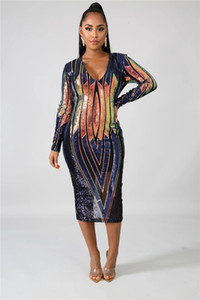 إمرأة مثير الترتر اللباس نصب منصة مصمم ديب V الرقبة انظر على الرغم من خط اللباس الإناث النادي الليلي اللباس عارضة