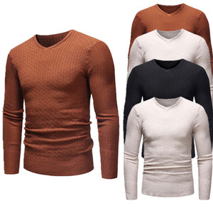 2019 New Style Fashion Hot Casual manches longues hommes solides Jumper formel en tricot à col en V Chemise Tops Pull