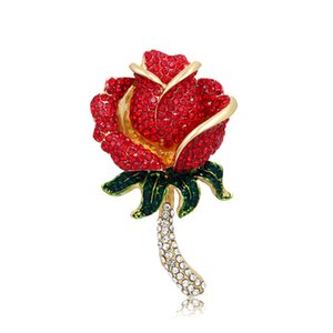 baiduqiandu Crystal Red Pink Rose Pins Rhinestone Flower Brooch Women Clothing Accessories Women DIY Bouquet Wedding Bridal
