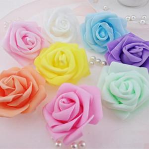 100pcs / lot 6cm Schaum Rose Köpfe Köpfe der künstlichen Blume dekorative Blumen Hochzeit Dekoration für küssende Kugel Gefälschte Blume