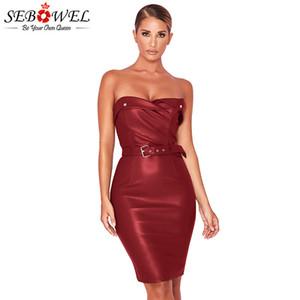 SEBOWEL Seksi PU Deri Gece Kulübü Bodycon Elbiseler kadın Tüp Üst Elbise 2019 Yeni Yaz Kadın Büyük Rahat Kılıf Elbise S-XXL