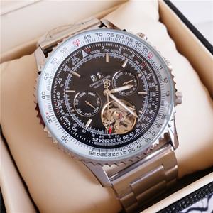 2020 luxuosas dos homens de alta qualidade Assista Aço Belt Multifunction Dual Time zona Business Casual Homens Esportes Relógio Automático