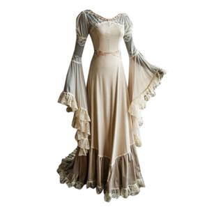 Women's Long Sleeve Slash Neck Medieval Dress Floor Length Cosplay Dress Elegant and comfortable 2019 New#35