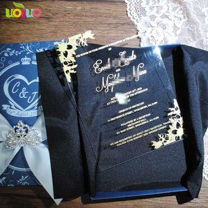 Welcom 당신의 자신의 인쇄 디자인 공단을 가진 금박지 단어를 가진 명확한 아크릴 결혼식 안내장 카드