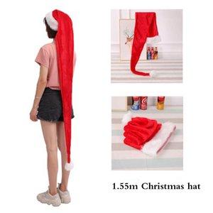 Uzatmak Noel Şapka 1.5 M Kırmızı Santa Cap Yaratıcı Peluş Oyuncak Küçük Hediyeler Noel Partisi Dikmeler Yılbaşı Dekorasyon Malzemeleri
