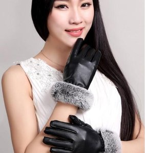 Free hot saleWomen Skiing Gloves Outdoor Sports Designer Fur Leather Five Fingers Gloves Solid Color Winter Outdoor Warm Real Leather Gloves