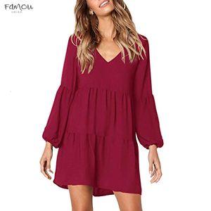 Autumn Women Dress Fashion Women Solid Color High Waist Lantern Long Sleeve V Neck Draped Knee Length Wine Blue Dress Dropship