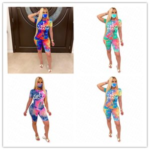Face Tracksuit Sleeves Shorts BREATHE T D62916 Tie-dye Suit CAN'T With Luxury Women Piece Three Mask Shirt Short Gradient Sports Outfit Aiea