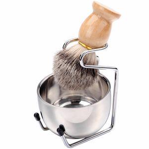 Shaving Brush Set Madeira cabelo Badger punho dos homens de aço inoxidável Foam bacia Barber Homens Limpeza Facial Barba Shave Ferramenta HHA1184