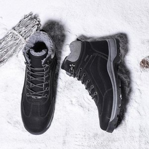 Warm Mens Boots Winter New Large Mens Snow Boots Velvet Padded High-top Cotton Shoes Waterproof Non-slip Short Classic