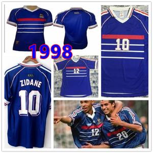 10 ZIDANE 1998 FR Джерси марочных ZIDANE HENRY Майо DE FOOT Таиланд высокого качество футбол равномерного равномерное футбол рубашка рубашка мужской Шир