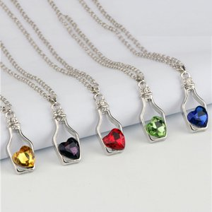 Fashion Women's Love Wishing Bottle Necklace Crystal Gemstone Lady's Drifting Bottle Pendant Chain Zircon Party Jewelry Necklace for Women