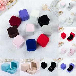Terciopelo en forma de aretes en forma de joyería colgante caja de almacenamiento de anillo titular para la boda de matrimonio suministros fiesta de compromiso