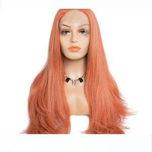 Moderne Hair Show Affordable Lace Front Wigs à vendre Ginger Couleur Orange cheveux synthétiques dentelle perruques pour les femmes noires naturelle Coiffure droite
