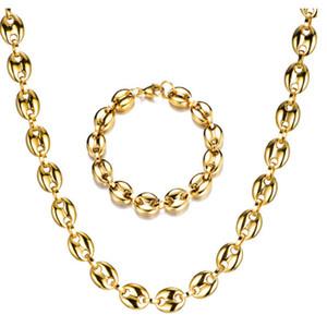 Los hombres de frijoles de café de cadena Collares pulseras de cadenas de plata conjunto de enlaces de acero inoxidable 11 cm oro / joyería de Hiphop