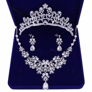 Noble Cristal Girasoles Conjuntos de Joyas de Novia de Plata Rhinestone Gargantilla Collar Pendientes Tiaras Coronas Mujeres Joyería de Boda Set
