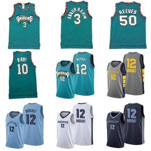Ja 12 Morant Mike Bibby 10 Basketball Jersey Mens Shareef Abdur-Rahim 3 50 Reeves retro verde do basquetebol camiseta