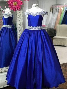 Une épaule Junior Pageant Robes 2019 De L'épaule Royal Bleu Pageant Robes pour Petit Bébé Long Strass Cristaux Real Photos