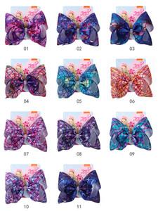 27style Mädchen-Bogen-Haar-Klipps 8-Zoll-Jojo Blumen Regenbogen-Meerjungfrau-Flamingo Schnee drucken Barrettes Kinder Kopfschmuck Haarbögen mit Clip GGA3647-1
