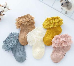 Bebek pamuk çorap kızlar dantel gazlı bez nakış çift falbala kısa çorap çocuk dantel hollow örme ayak bileği prenses çorap ço ...