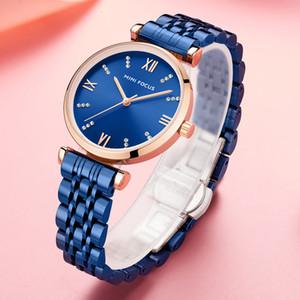MINIFOCUS del reloj para mujer Top 2019 Azul moda mujer de cuarzo analógico oro de las señoras del reloj de acero inoxidable