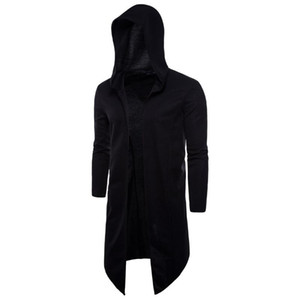 Mens Moda Black Cape Long Trench Revestimento Cardigan Windigan Overcoat Coat Slim Capuz Longo Casaco de Manga Com Capuz Plus Size 5XL