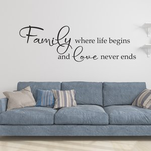 Familie, wo Leben und die Liebe endet nie Art Design Vinylwand-Aufkleber Begins Zitate kreativen Charakter Home Decor-Familien-Abziehbilder